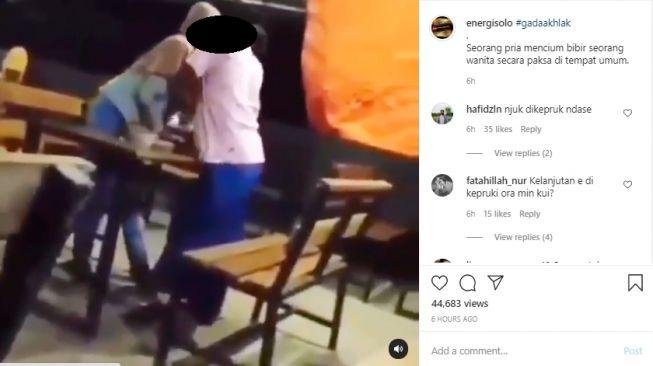 Video Viral! Pemuda Nyosor Paksa Bibir Gadis di Tempat Umum