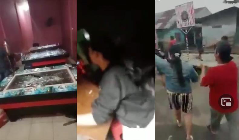 Video Viral! Emak-Emak Gerebek Judi di Mabar