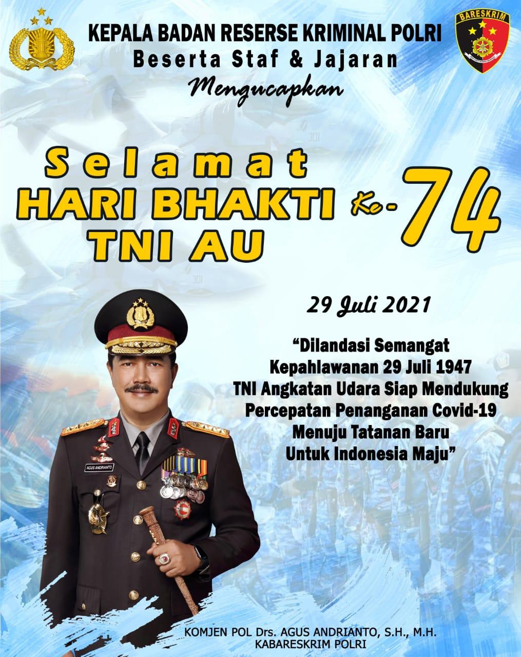 Selamat Hari Bhakti TNI AU - Kabareskrim Polri